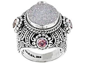 Snow™ Drusy Quartz, Magnifique Sunrise™ Topaz Silver Ring 1.20tw