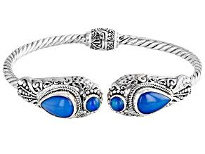 Paraiba Color Opal Silver Cuff Bracelet 4.80ctw