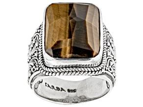 Brown Tigers Eye Silver Ring