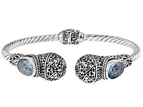 Sky Blue Topaz Silver Bypass Bracelet 6.80ctw