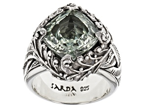 Green Prasiolite Sterling Silver Ring 4.50ctw