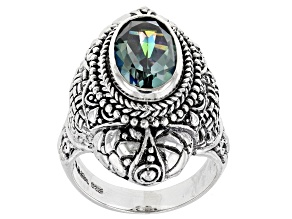 Aloha Green™ Quartz Silver Ring 2.81ct