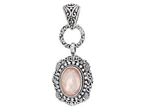Morganite Color Mother-of-Pearl Quartz Triplet Silver Pendant