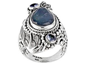 Blue Sapphire Mother-of-Pearl Quartz Triplet, Tanzanite Silver Ring 4.49ctw