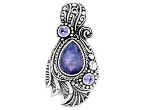 Blue Sapphire Mother-of-Of-Pearl Quartz Triplet, Tanzanite Silver Pendant
