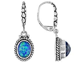 Lab Created Twilight Opal Quartz Doublet Silver Earrings 3.58ctw