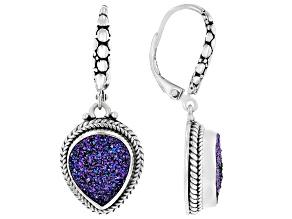 Peacock Purple Green™ Drusy Quartz Silver Earrings