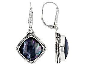 Black Onyx Mother-of-Pearl Quartz Triplet Silver Earrings