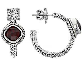 Red Garnet Hammered & Frangipani Silver Hoop Earrings .76ctw