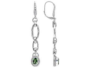 Green Chrome Diopside Silver Dangle Earrings 1.38ctw