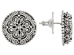 White Diamond Sterling Silver Earrings .08ctw