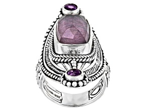 Purple Lepidolite Quartz Doublet & Amethyst Silver Ring .40ctw