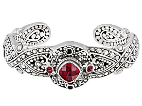 Red Lab Created Ruby, Blessed™ Topaz & Spinel Silver Bracelet 5.28ctw