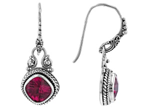 Red Lab Created Ruby Silver Dangle Earrings 4.60ctw