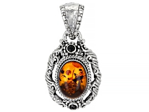 Pressed Amber & Black Spinel Silver Pendant .26ctw