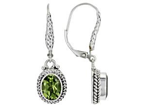 Green Peridot Sterling Silver Dangle Earrings 3.50ctw