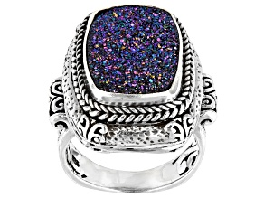 Peacock Purple Green™ Drusy Quartz Silver Ring