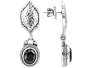 Black Spinel Silver Hammered Earrings 5.52ctw