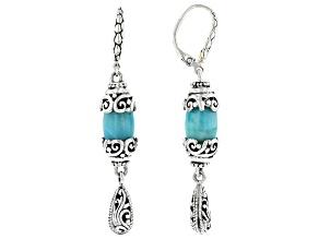 Blue Amazonite Silver Watermark Earrings