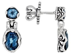 London & Swiss Blue Topaz Silver Earrings 2.18ctw