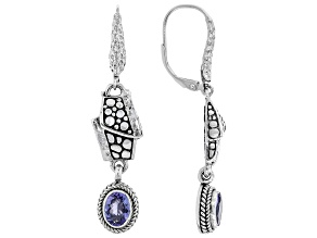 Blue Tanzanite Silver Hammered Earrings 1.28ctw