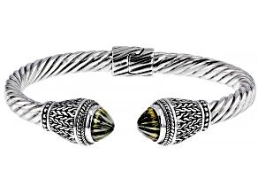 Olive Quartz Silver Bangle Bracelet