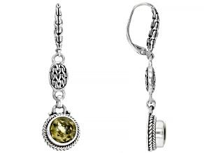 Olive Quartz Silver Dangle Earrings