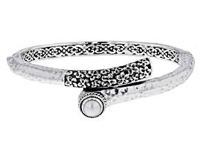 Cultured Freshwater Pearl Silver Frangipani Hammered Bracelet