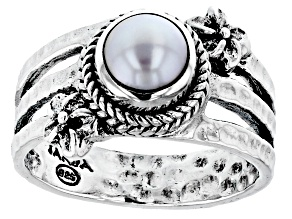 Cultured Freshwater Pearl Silver Frangipani Hammered Ring
