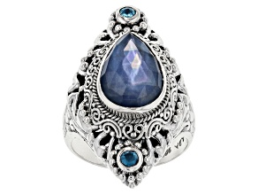 Blue Sapphire Triplet Silver Ring .20ctw