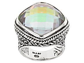 Zero Mercury™ Quartz Silver Hammered Ring 14.37ct