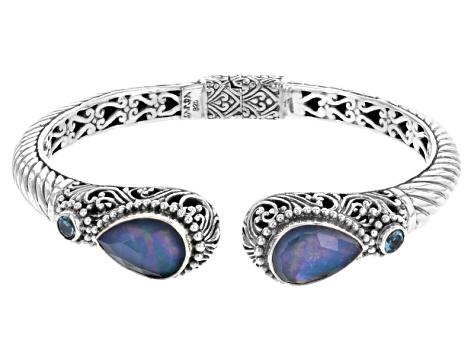 Blue Shire Triplet Silver Bracelet 20ctw