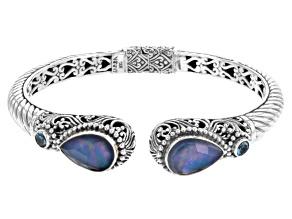 Blue Sapphire Triplet Silver Bracelet .20ctw