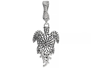 """Silver """"Overflow With Peace"""" Turtle Enhancer Pendant"""