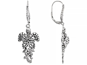 """Silver """"Overflow With Peace"""" Turtle Earrings"""