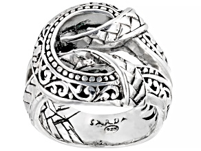 """Silver """"Pray For One Another II"""" Filigree & Weave Ring"""