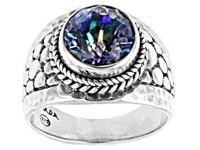 Sea-renity™ Quartz Silver Hammered Ring 2.38ct