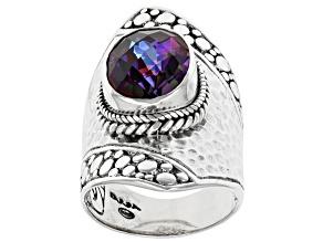 Xanadu™ Quartz Silver Hammered Ring 4.93ct