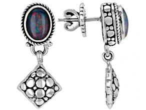Multi-Color Australian Opal Triplet Silver Earrings 1.52ctw