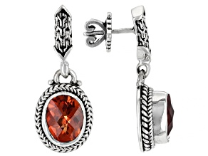 Orange Lab Created Padparadscha Sapphire Silver Earrings 6.64ctw
