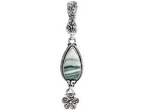 Green Opal Silver Frangipani Enhancer Pendant