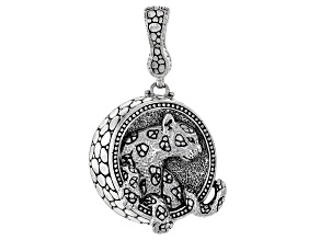 """Silver """"Every Moment Is Alive"""" Panther Enhancer Pendant"""