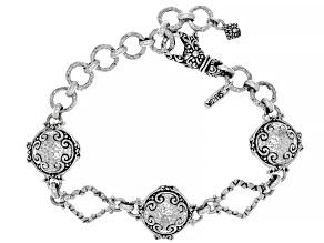 """Sterling Silver """"Seize His Moments"""" Hammered Bracelet"""