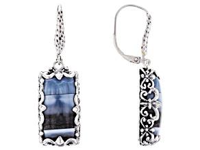 Blue Opal Silver Hammered Earrings