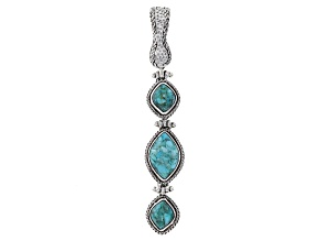 Mosaic & Green Turquoise Sterling Silver Enhancer Pendant