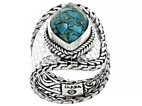 Mosaic Turquoise Silver Hammered Ring