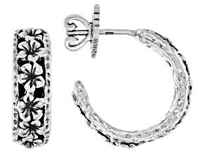 Sterling Silver Frangipani & Hammered Huggie Earrings