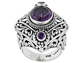 Purple Amethyst Sterling Silver Ring 2.64ctw