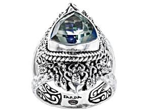 Novel™ Quartz Silver Hammered Ring 3.40ct