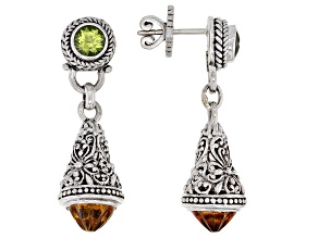 Yellow Citrine and Peridot Silver Earrings 1.02ctw